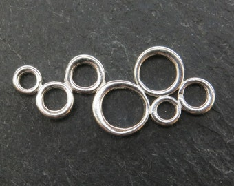Sterling Silver Circle Cluster Connector 30mm (ET8071)