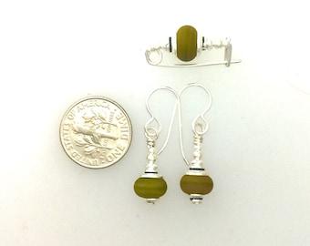 Earrings and Small Bar Pin Set #4 Khaki Green