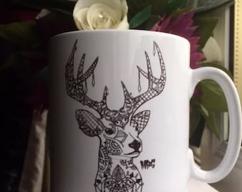 Zentangle/ tattoo style stag mug. Hand drawn and designed.