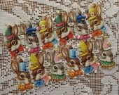 England Vintage Easter Scraps 12 Tiny Easter Bunny Rabbit Die Cut Paper  957