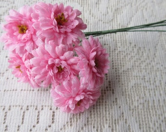 Fabric Millinery Flowers From Austria 6 Pink Fluffy Asters #A37