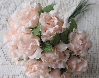 Fabric Millinery Flowers From Austria 12 Pale Peach Austrian Roses #A36