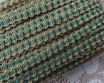 3 Yards Delicate Narrow Metallic Trim In Gold And Green Old Store Stock  VT 01