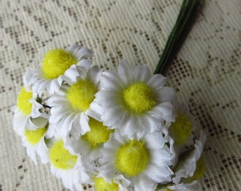 12 Fabric Millinery Flowers White Daisy Daisies