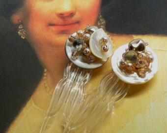 Pair Blush Pink & Champagne Baroque Pearl Bridal Antique Celluloid HAIR PINS Hairpins MOP Shell Buttons