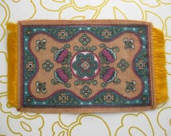 Antique mini felt rug tobacco cigar premium silk rug doll house rug 5 x 6 inches gold and teal