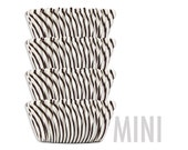 Mini Black Candy Stripe Baking Cups - cupcake liners, cupcake papers