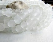 white  Recycled glass beads , uneven round shape , clear matte  frosted style finish , organic irregular shape  7 to 10mm / 16 beads 6ak6-3