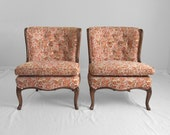 2 FRENCH country floral tapestry slipper chairs