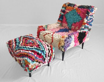 vintage MOROCCAN boucherourite textile covered MID CENTURY mod lounge chair & ottoman