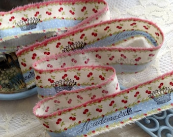 SPRINGTIME RIBBON- Mademoiselle - Royal Crown - Polka Dots & Cherries - Hand stamped ribbon trim.