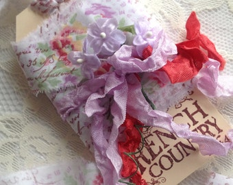 FRENCH COUNTRY 4 Yards X 1 Inch - French hand stamped ribbon using sepia ink on vintage lavender rose fabric - Narrow ribbon - French shabby