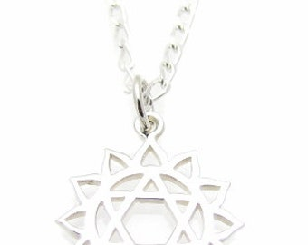 """4th Heart Chakra Symbol Charm Sterling Silver Necklace, 18"""", Yoga Jewelry"""