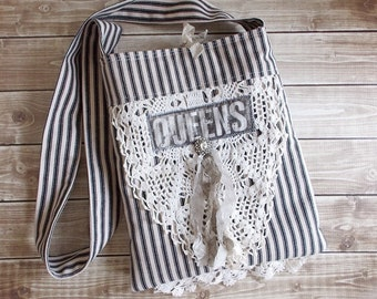 Shabby Tattered Chic Black Ticking Queens Lace Ditty Tote Bag