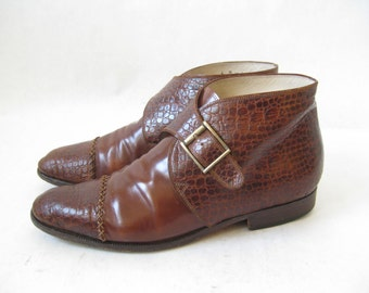 Vintage 80's BALLY Croc Embossed Ankle Boots. Size 6