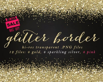 Glitter border glitter clip art sale clipart gold glitter clip art border overlay commercial use digital designs digital border silver pink