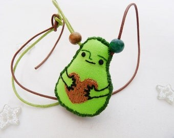 Avocado Necklace with Embroidered Heart