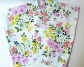 Pair Vintage 1970's Floral Unused Pillowcases, Spring Flower Garden Design, Vintage Bedding, Vintage Pillowcases, Candy Colors on White