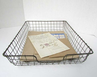Vintage 1930 Crinkled Wire Ware Office Tray,  In Out Basket for Vintage Office Desk, Storage Tray, Secretary Desk Tray