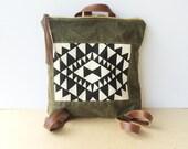 bucket backpack • leather and waxed canvas backpack • black and white screeprinted geometric print - olive green waxed canvas  • vukani