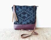 weekdayer - large • crossbody bag - geometric print • black on black geometric print - screenprinted - gifts under 50 - leather • vukani