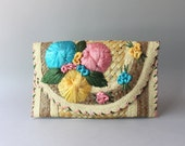 1950s Floral Straw Bag / Vintage 50s Oversized Envelope Clutch / 1960s Resort Bag