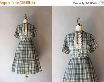 STOREWIDE SALE Vintage 60s Dress / 1960s Plaid Cotton Day Dress / Early Sixties Tuxedo Lace Full Skirt Dress