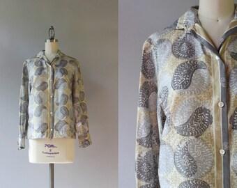 1960s Silk Vera Blouse / Vintage 60s Paisley Yin Yang Blouse / Silk Vera Blouse