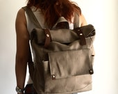 New Year Sale   30% // Allison in Taupe brown Backpack /Satchel Rucksack /Laptop bag  / Tote / Women / Unisex / Gift for her him