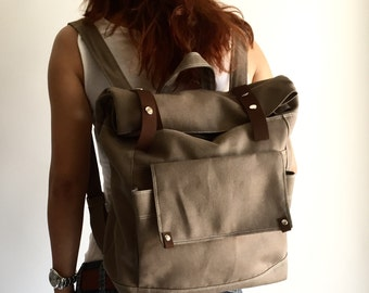 Taupe brown school  Backpack, Travel laptop backpack , Canvas diaper satchel , Unisex Rucksack , Gift for her him/ SALE 30% - no.105 ALLISON