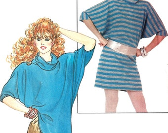 1980s Top Pattern Loose Fit Cowl Neck Vintage Sewing Butterick Uncut Women's Misses Size 6 - 18 Bust 30. 5 - 40 Inches