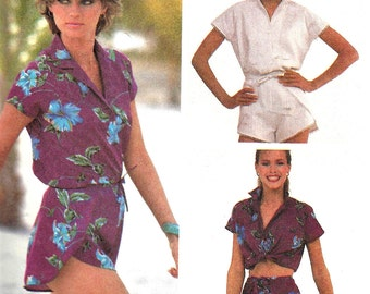 Wrap Shorts Pattern 1980s Shirt Top McCall's Vintage Sewing Uncut Women's Misses Size Medium 14 - 16 Bust 36 - 38 Inches