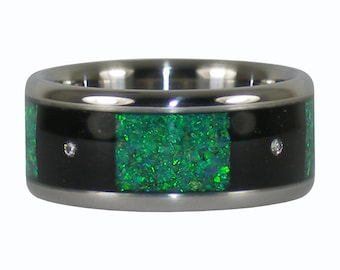 Three Diamond Ring with Blackwood and Vibrant Green Lab Opal