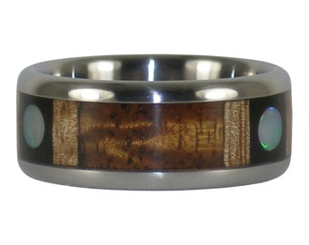 Three Wood Ring with Three Opal Cabs