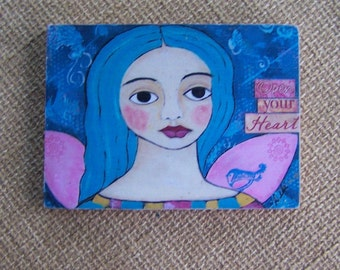 "Angel print Woodblock painting encaustic 3.5"" x 5"""