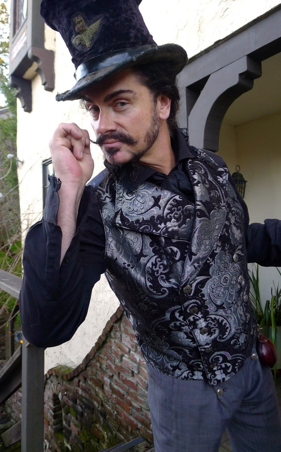 Black and Silver Tapestry Steampunk Victorian Double Breasted Lapeled Gentlemen's Vest by dashandbag steampunk buy now online