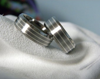 Titanium Ring SET, Matching Wedding Bands Sterling Silver Pinstripes