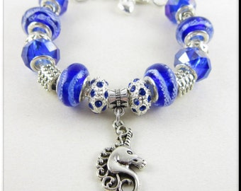 Unicorn Head Charm European Blue Bracelet Murano Lampwork Glass Beads Crystal Tibetan Silver