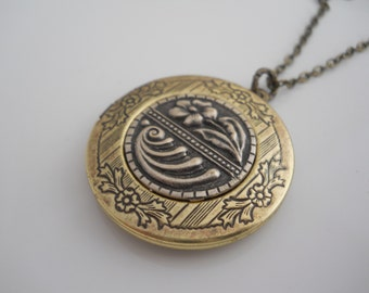 Vintage Brass Locket with Scrolled Design and Silver Embossed Metal Floral Center Women's Locket Necklace on Brass Chain Keepsake Memories
