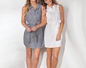 Monogrammed White Shirt Dress