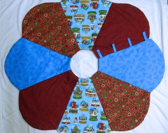 Handmade Christmas Tree Skirt in Reds and Blues