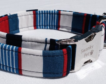 Anchors Away - Stylish Red, White & Blue Striped Dog Collar by Swanky Pet