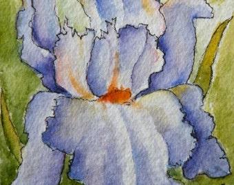 Art Card of Iris Flower Original Watercolor ACEO Watercolor Original Art Flower Art Artist Trading Card