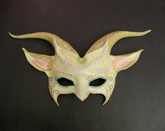 READY TO SHIP Beautiful Goat Mask in Ivory with Colorful Detail festival tribal primitive pretty mandala lotus