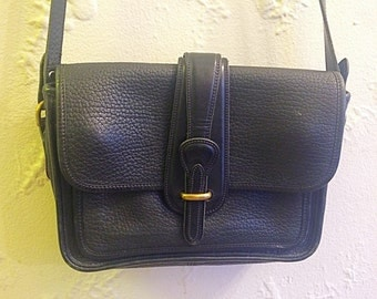 Vintage Dooney & Bourke Black Leather Crossbody Bag