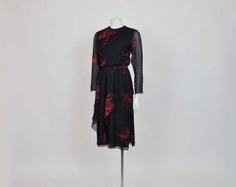 vintage 70s dress / Vintage 1970s Hanae Mori Dress Floral Print Draped Wrap Silk