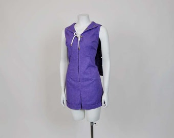 60s jumpsuit / Vintage 1960s Mod Sailor Grommet Shorts Jumper Playsuit