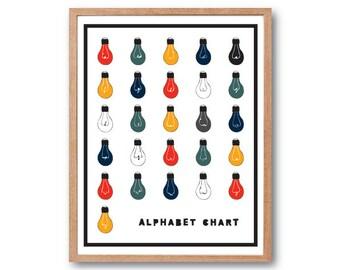 Alphabet Print, Typography print, Light Bulbs, illustration, Home Decor, wall art, Kids room Decor, Decorative Arts