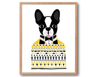 French bulldog Sweater Art Print, Dog Print, Dog illustration, animal Illustration, Geometric print, Children Room decor, Nursery decor