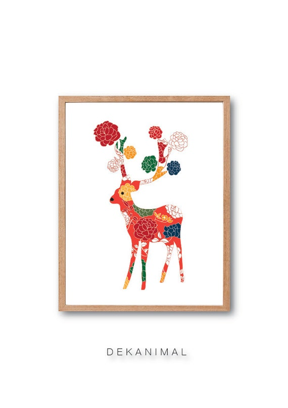 Kids room Art, Deer Art Print, Nursery art, Deer Illustration, Reindeer Art print, Animal Illustration, Rose Flower Pattern, Floral Print